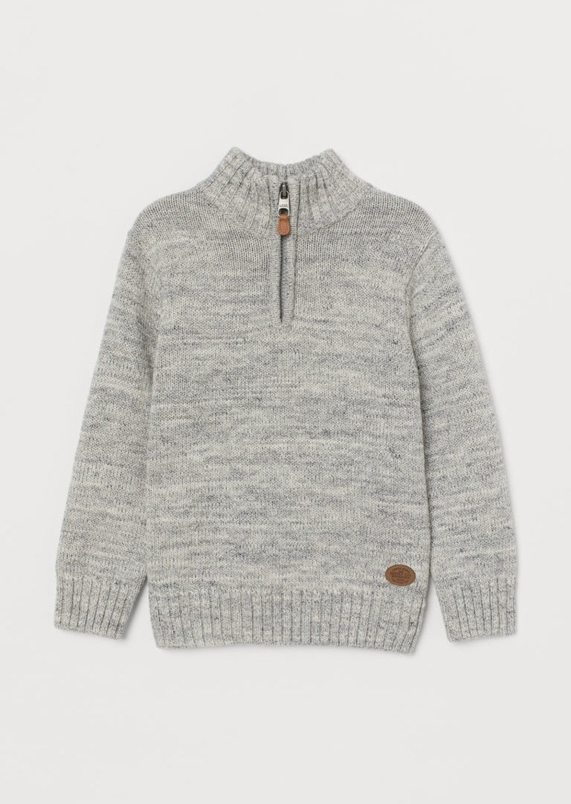 H&M H & M - Knit Sweater with Collar - Gray