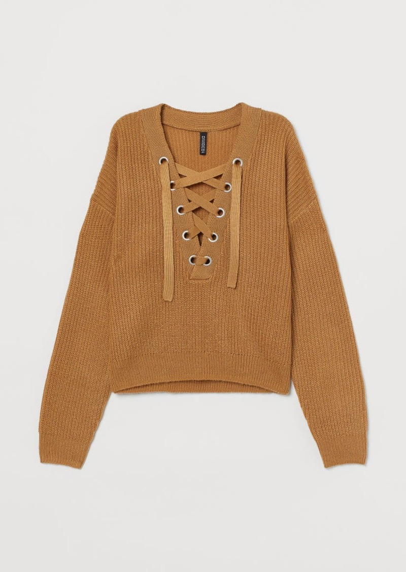 H&M H & M - Knit Sweater with Lacing - Beige