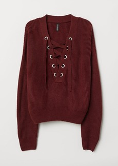 H&M H & M - Knit Sweater with Lacing - Red