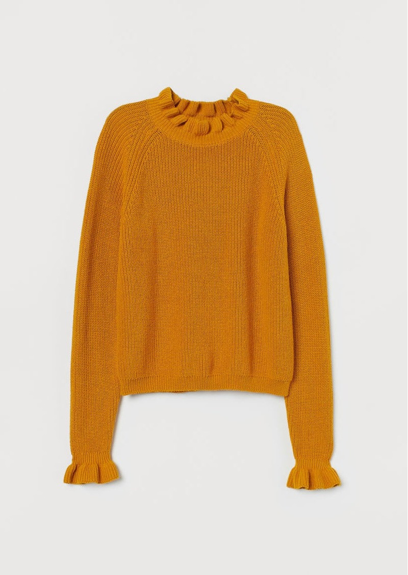 H&M H & M - Knit Sweater with Ruffle Trim - Yellow
