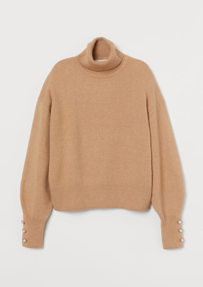 H&M H & M - Knit Turtleneck Sweater - Beige