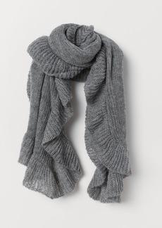 H&M H & M - Knit Flounced Scarf - Gray