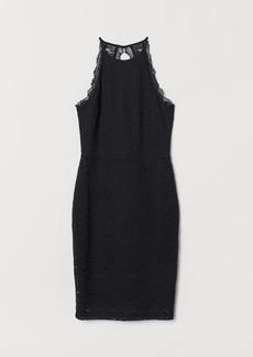 H&M H & M - Lace Halterneck Dress - Black