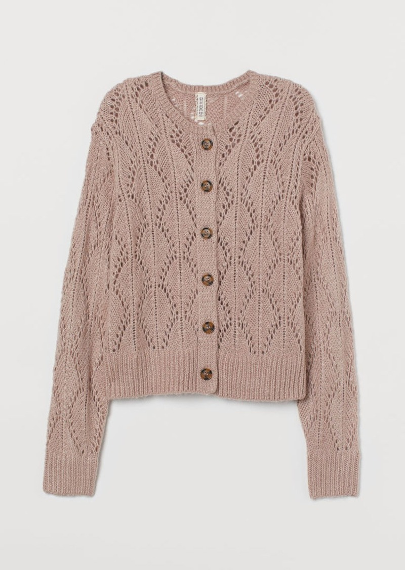 H&M H & M - Lace-knit Cardigan - Pink