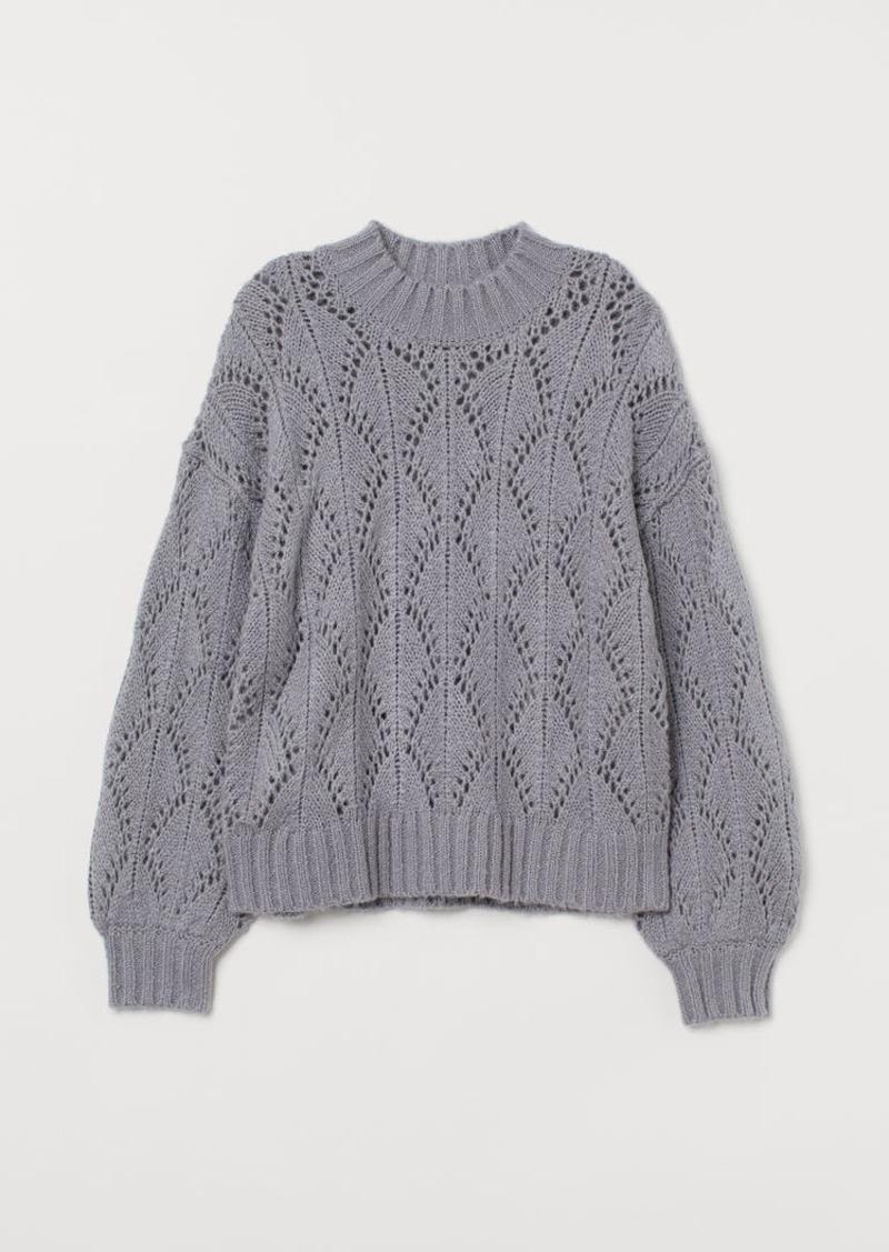 H&M H & M - Lace-knit Sweater - Gray