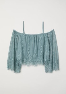 H&M H & M - Lace Off-the-shoulder Dress - Turquoise