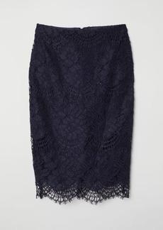 H&M H & M - Lace Pencil Skirt - Blue