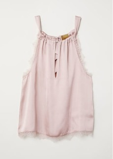 H&M H & M - Lace-trimmed Satin Top - Pink