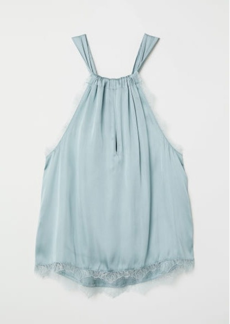 H&M H & M - Lace-trimmed Satin Top - Turquoise
