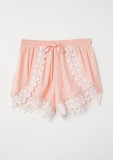 H&M H & M - Lace-trimmed Shorts - Pink