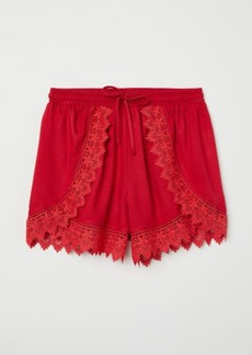 H&M H & M - Lace-trimmed Shorts - Red