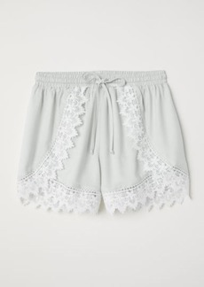 H&M H & M - Lace-trimmed Shorts - Turquoise