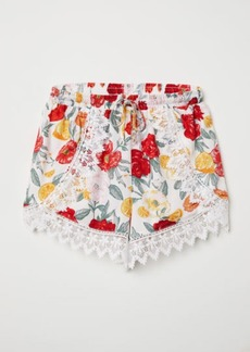 H&M H & M - Lace-trimmed Shorts - White