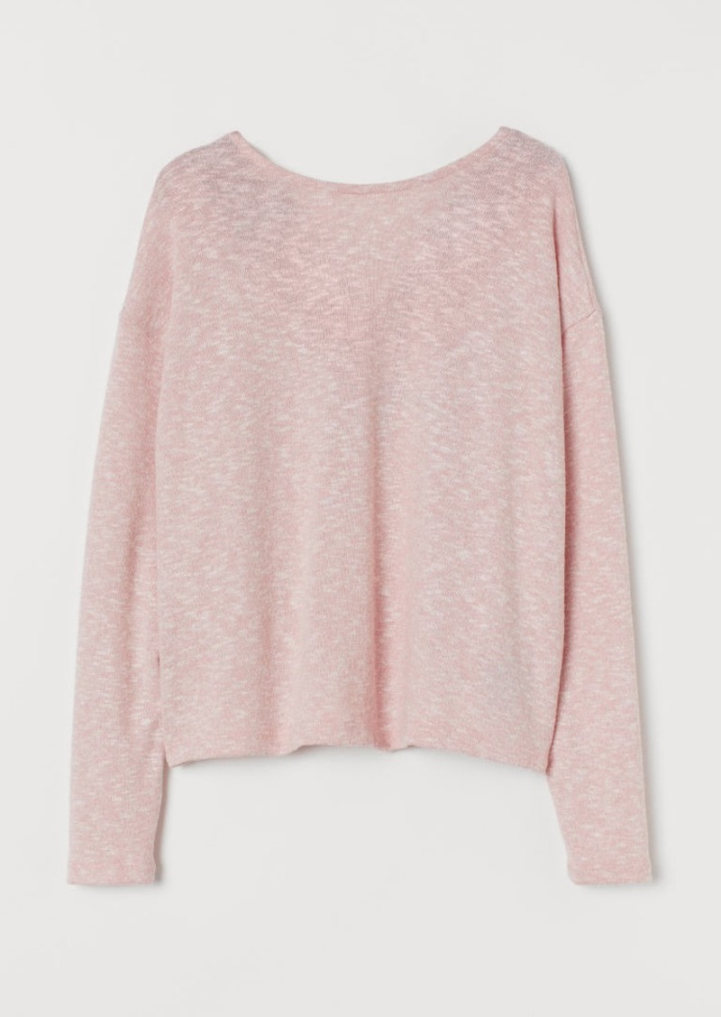 H&M H & M - Lace-trimmed Sweater - Pink