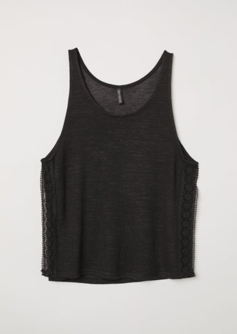 H&M H & M - Lace-trimmed Tank Top - Black