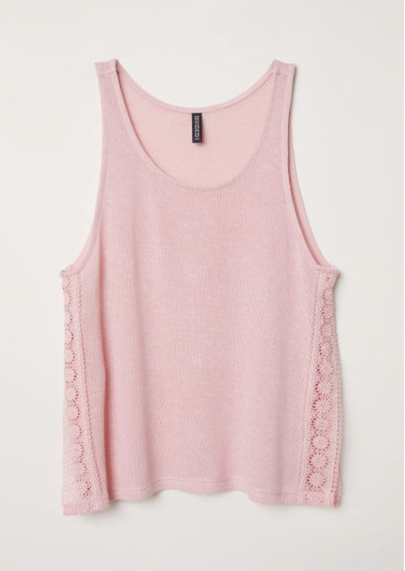 H&M H & M - Lace-trimmed Tank Top - Pink