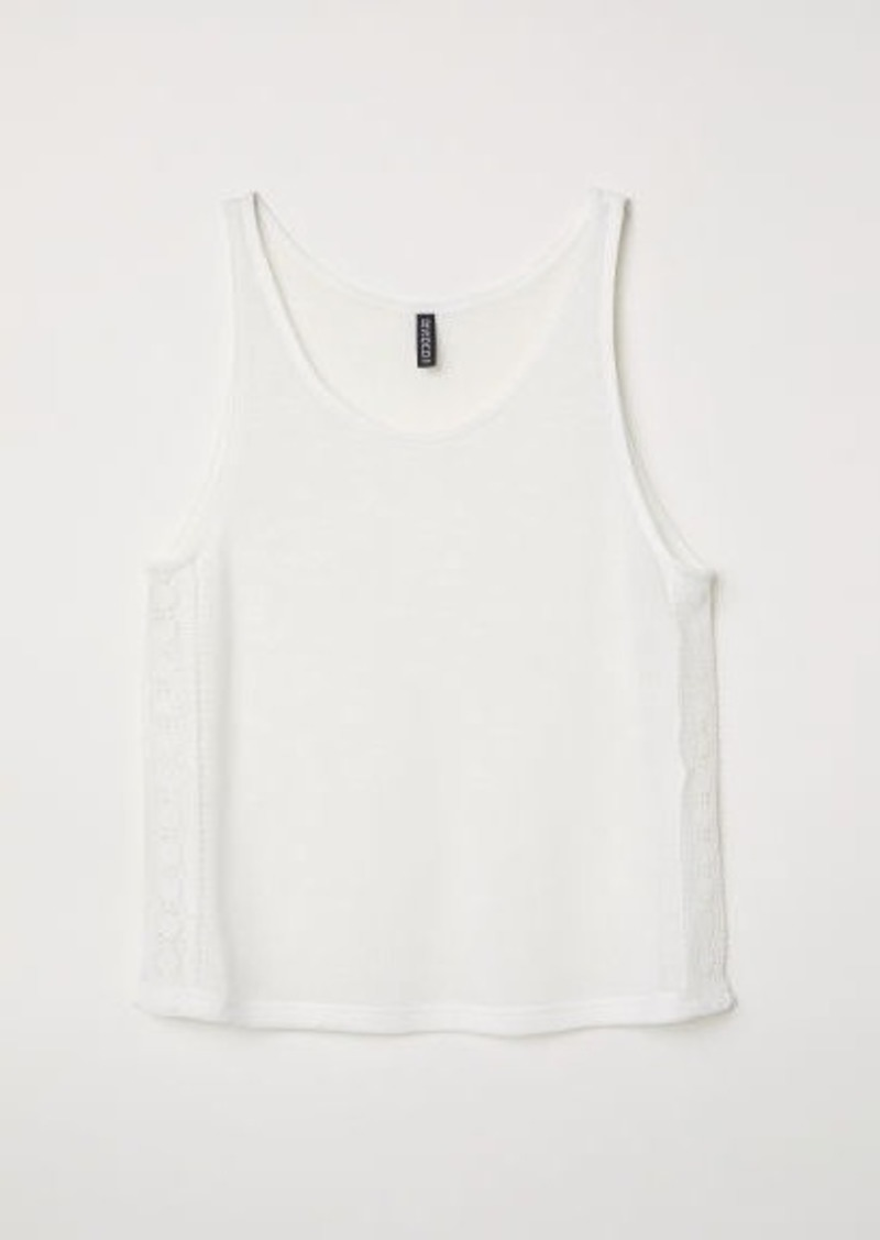 H&M H & M - Lace-trimmed Tank Top - White