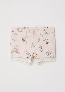 H&M H & M - Lace-trimmed Twill Shorts - Pink