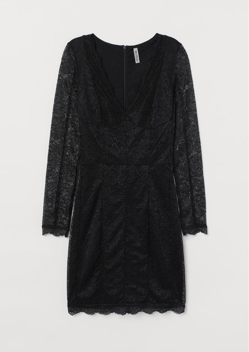 H&M H & M - Lace V-neck Dress - Black