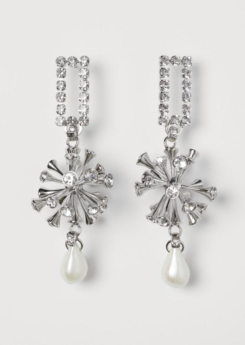 H&M H & M - Large Rhinestone Earrings - Silver