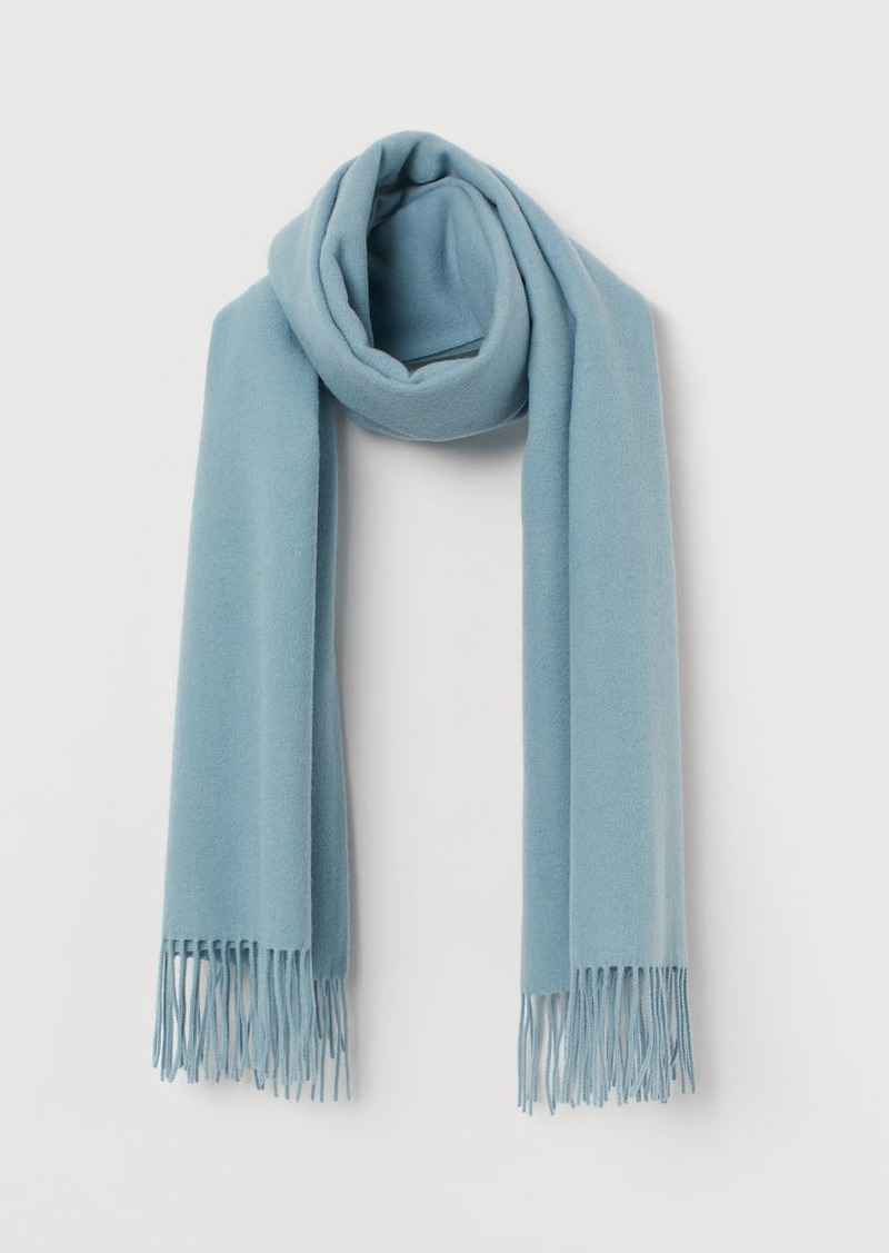 H & M - Large Wool Scarf - Turquoise