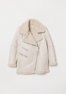 H&M H & M - Leather Biker Jacket - Beige