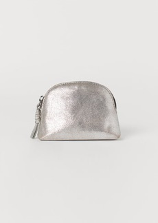 H&M H & M - Leather Makeup Bag - Silver