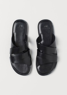 H&M H & M - Leather Mules - Black