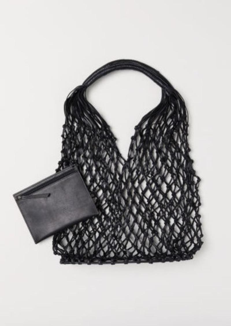 H&M H & M - Leather Net Bag - Black