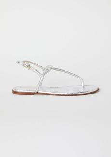 H&M H & M - Leather Toe-post Sandals - Silver