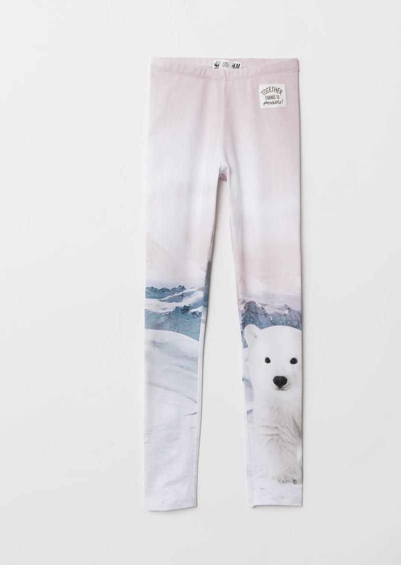 H&M H & M - Leggings with Printed Design - White