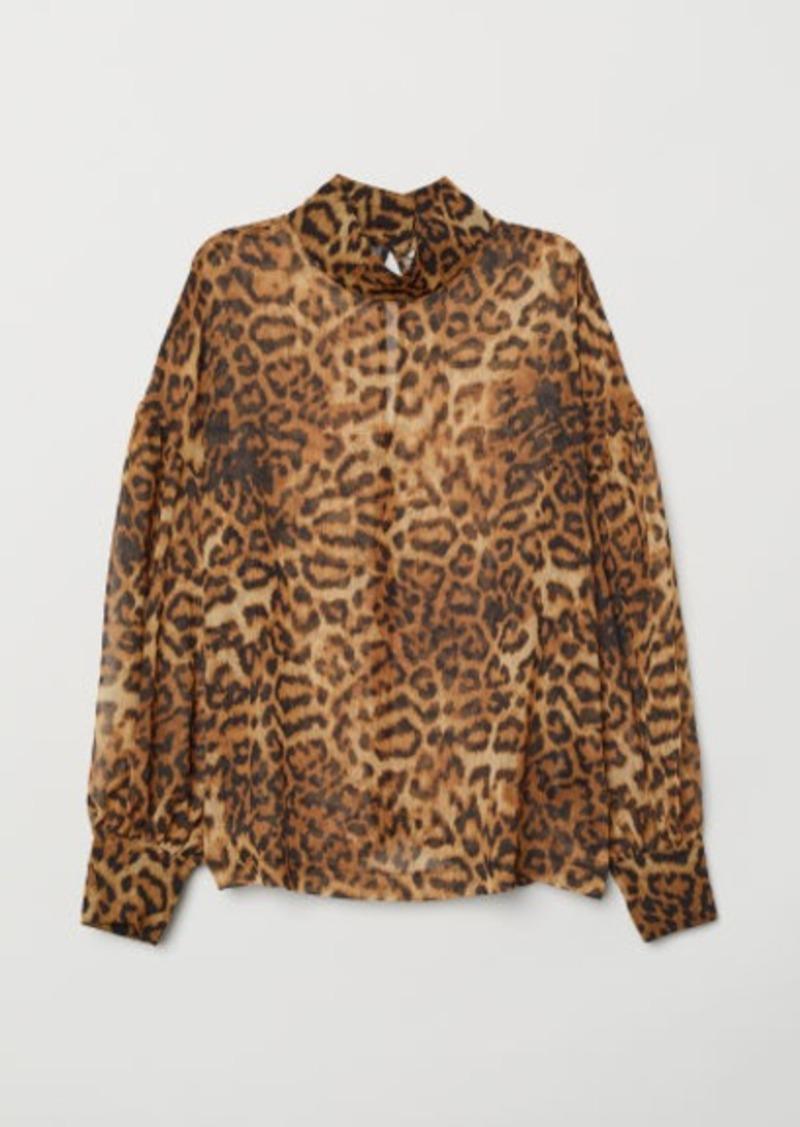 H&M H & M - Leopard-print Blouse - Brown