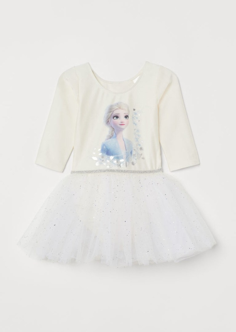 H&M H & M - Leotard with Tulle Skirt - White