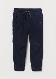 H&M H & M - Lined Corduroy Joggers - Blue