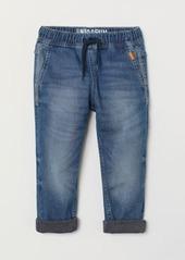 H&M H & M - Lined Denim Joggers - Blue