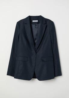H&M H & M - Linen-blend Jacket - Blue