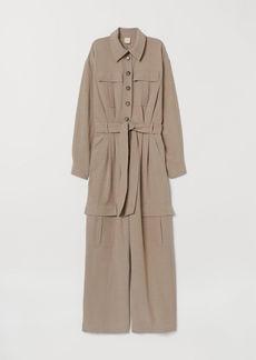 H&M H & M - Linen-blend Jumpsuit - Beige