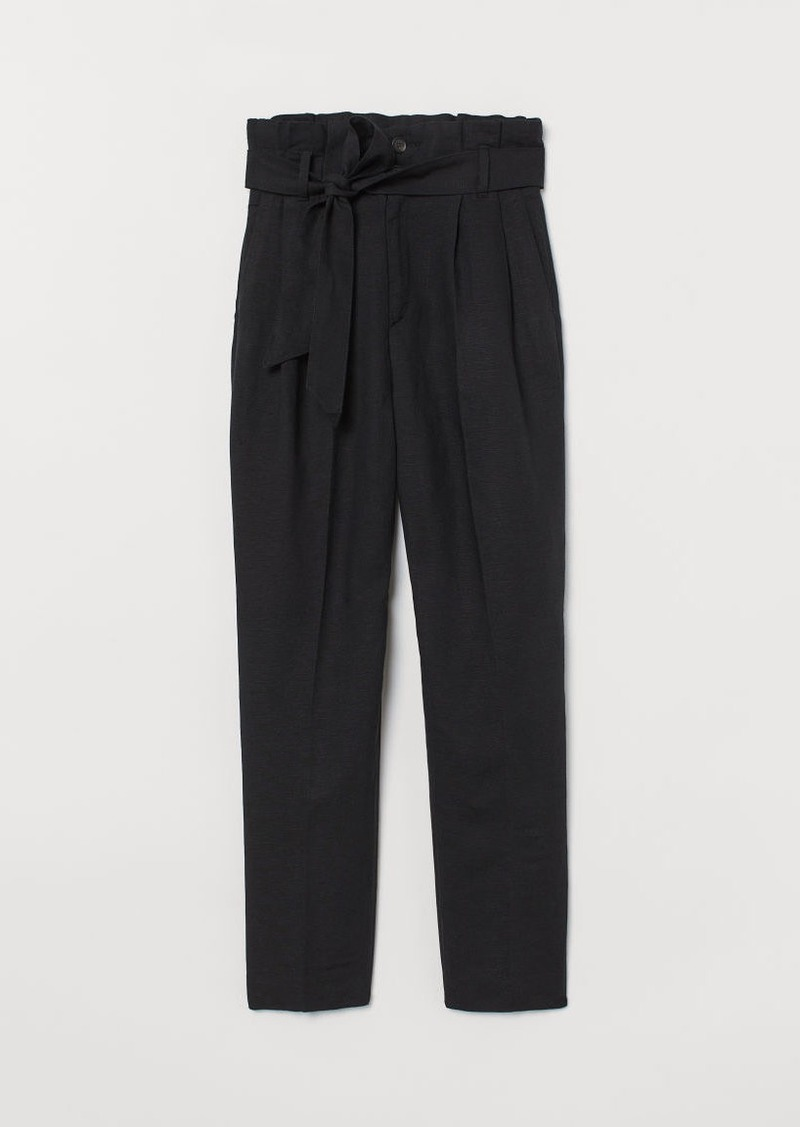 H&M H & M - Linen-blend Paper-bag Pants - Black