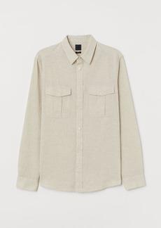 H&M H & M - Linen-blend Shirt - Beige
