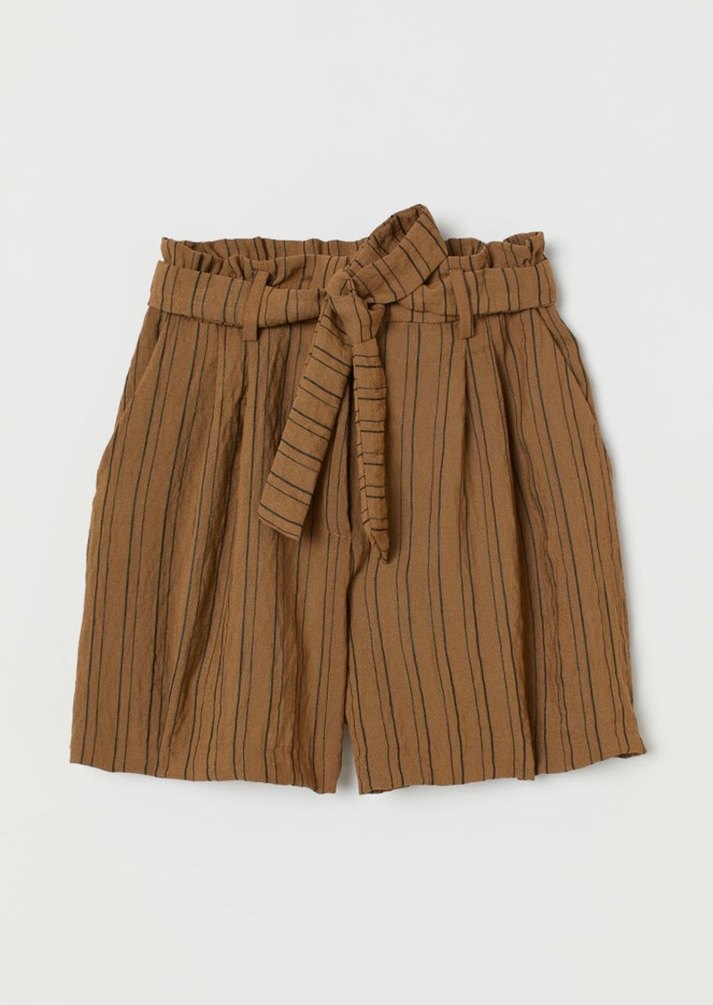 H&M H & M - Paper-bag Shorts - Beige