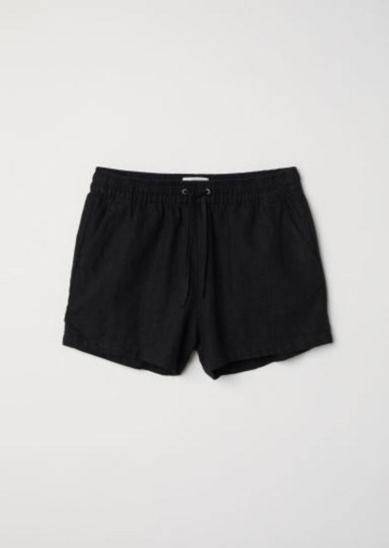 H&M H & M - Linen-blend Shorts - Black