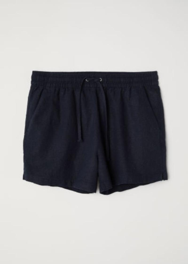 H&M H & M - Linen-blend Shorts - Blue