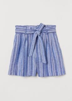 H&M H & M - Paper-bag Shorts - Blue