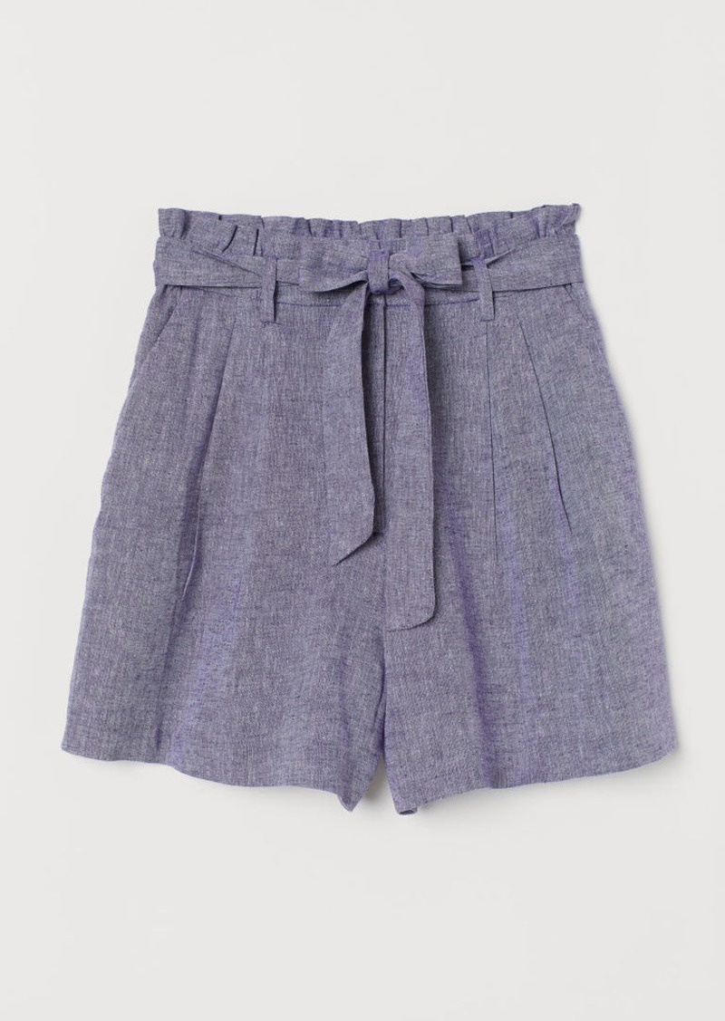 H&M H & M - Paper-bag Shorts - Blue
