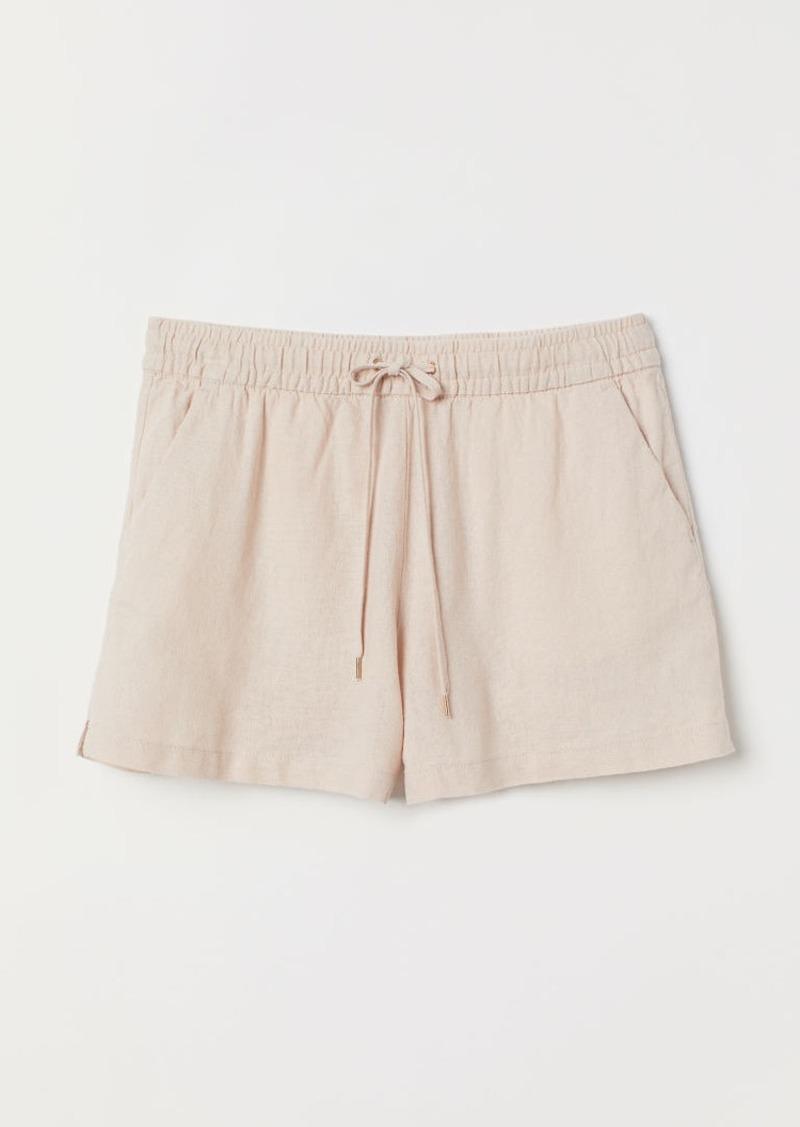 H&M H & M - Linen-blend Shorts - Orange