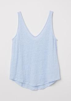 H&M H & M - Linen Jersey Tank Top - Blue