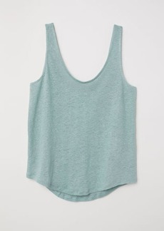 H&M H & M - Linen Jersey Top - Green