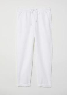 H&M H & M - Linen Joggers - White