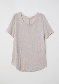 H&M H & M - Round-necked Linen Top - Brown