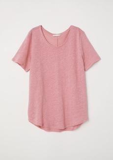 H&M H & M - Round-necked Linen Top - Pink